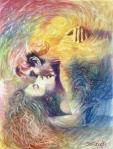 """Bruno Steinbach. """"Nômades Amantes do Tempo - Hariel e Aladiah"""" . Óleo / Duratex, 122,5 x 91 cm, 1998, Mossoró, Rio Grande do Norte, Brasil. Coleção: Claurênia Henrique, João Pessoa - Pb. Catálogo 77."""